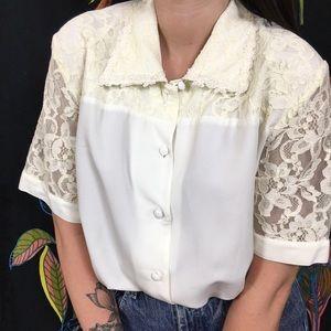 VINTAGE /  White Lace Button Down Blouse